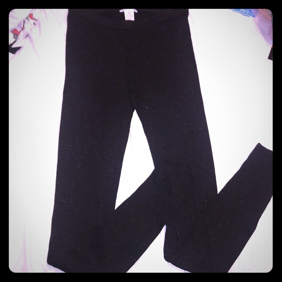 28521570d104a Candie's Pants | Tall Ladies Long Black Glitter Leggings Tights M ...